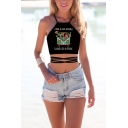 Hot Summer Sleeveless Lace Up Hollow Out Angel Pattern Slim Fitted Cropped Cami Top