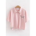 Simple Cute Womens Short Sleeve Lapel Collar Button Up Letter Cat Embroidery Drawstring Hem Relaxed Crop Polo Shirt