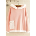 Womens Trendy Long Sleeve Flap Pocket Colorblocked Fluffy Trim Relaxed Rabbit Ears Hoodie in Pink