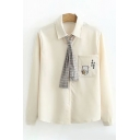 Simple Womens Long Sleeve Lapel Collar Button Down Chinese Letter Cartoon Embroidery Relaxed Shirt with Checkered Tie