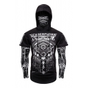 Cool Mens Long Sleeve Drawstring Ninja Cosplay Geometric Printed Patchwork Fake Two Piece Slim Fit Hoodie