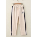 Active Girls Drawstring Waist Cartoon Embroidered Contrasted Long Straight Pants
