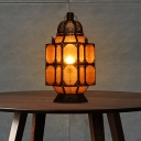 Arabian Lantern Nightstand Light 1 Bulb Metal Night Table Lighting in Rust for Restaurant