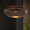 Metal Black/Silver/Brass Suspension Pendant Oval 1 Light Art Deco Hanging Ceiling Light for Restaurant