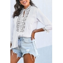 Elegant Ladies' Plain Long Sleeve V-Neck Floral Embroidery Lace Panel Button Down Fit Shirt Top