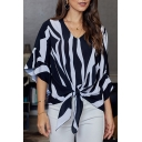 Popular Gorgeous Ladies' Bell Sleeves V-Neck Stripes Print Tied Hem Relaxed Fit Shirt