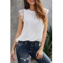 Pretty Elegant Ladies' Plain Sleeveless V-Neck Lace Trim Ruched Relaxed Fit Tank Top