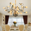 25 Bulbs Frosted Glass Chandelier Country Style Brass Tulip Living Room LED Pendant Lighting Fixture