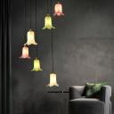Lily Living Room Cluster Pendant Pastoral Metal 6 Heads White/Green/Purple LED Suspension Lighting