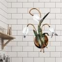 American Garden Tulip Sconce Light 3/9 Bulbs Metal Wall Lamp Fixture in Brass for Living Room