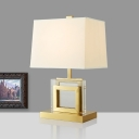 Trapezoid Reading Light Modern Fabric 1 Head Gold Night Table Lamp with Metal Base