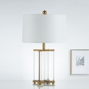 Tapered Drum Desk Lamp Modernism Fabric 1 Bulb Task Lighting in Gold with Crystal Base