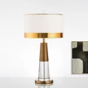 Contemporary Cylinder Table Light Fabric 1 Bulb Small Desk Lamp in Gold for Living Room