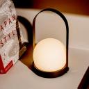 Ball Milk Glass Task Light Modernism 1 Bulb Black Night Table Lamp with Metal Handle