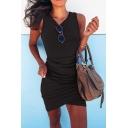 Sexy Plain Sleeveless Round Neck Ruched Mini Tight Tulip Dress for Women