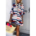 Trendy Ladies' Bell Sleeve Round Neck Stripe Patterned Short Swing Dress in White