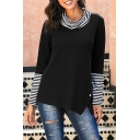 Casual Trendy Ladies' Long Sleeve Cowl Neck Striped Patchwork Button Side Relaxed Pullover Sweatshirt