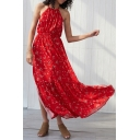 Amazing Red Sleeveless Halter All-Over Flower Printed Tied Waist Ruffled Open Back Maxi Flowy Dress