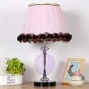 1 Head Bedside Table Lamp Modernist Pink Desk Light with Tapered Drum Fabric Shade