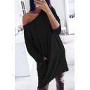 Trendy Women Long Sleeve Drop Shoulder Plain Short Shift T Shirt Dress