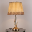 Fabric Pleated Reading Lamp Contemporary 1 Head Task Lighting in Beige for Study