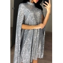 Designer Glitter Women Short Sleeves Mock Neck Sequins Mid Plain Shift Dress Cape