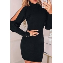 Sexy Trendy Ladies' Long Sleeve High Neck Button Detail Cut Out Mini Tight Evening Dress in Black