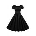 Women's Formal Retro Puff Sleeves Square Neck Solid Color Maxi Pleated Swing Evening Dress