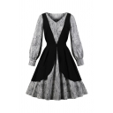 Women's Vintage Long Sleeve V-Neck All Over Floral Printed Colorblock Midi Pleated Flared Dress in Black