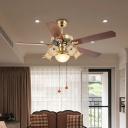 6-Head Pendant Fan Lighting Room 5 Blades Semi Flush Lamp with Flower White Glass Shade in Gold