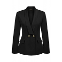 Formal Solid Color Long Sleeve Shawl Collar Button Down Slim Fit Blazer for Women