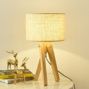 1 Head Study Task Lamp Modern Wood Reading Book Light with Cylinder Fabric Shade