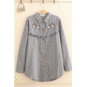 Classic Lovely Girls' Long Sleeve Lapel Neck Button Down Dogs Embroidered Stringy Selvedge Striped Long Oversize Shirt