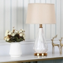Tapered Drum Nightstand Lamp Modernist Fabric 1 Bulb Reading Book Light in White