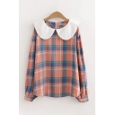 Preppy Looks Long Sleeve Peter Pan Collar Plaid Printed Zipper Back Relaxed Fit Shirt for Girls