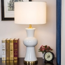 1 Bulb Bedroom Desk Light Modern White Night Table Lamp with Cylinder Fabric Shade