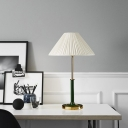 1 Head Living Room Desk Light Modern White Nightstand Lamp with Conical Fabric Shade