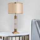 Contemporary 1 Head Task Lighting Gold Cylindrical Nightstand Lamp with Fabric Shade