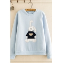 Korean Girls' Long Sleeve Crew Neck Rabbit Embroidered Loose Fit Pullover Sweatshirt