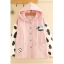 Unique Women's Long Sleeve Button Down Cow Milk Printed Panel Oversize Jacket
