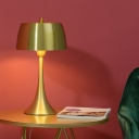 Drum Task Lighting Contemporary Metal 1 Bulb Night Table Lamp in Gold with Trumpet Base