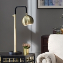 Sphere Metal Task Lighting Modernism 1 Bulb Gold Small Desk Lamp with Curved Arm