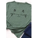 Cute Fashion Girls' Short Sleeve Crew Neck Cartoon Cat Face Slim Fit Tee in Olive Green
