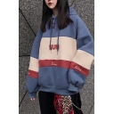 Boyfriend Trendy Street Women Long Sleeve Drawstring NUM Letter Colorblock Oversize Hoodie