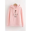 Lovely Girls Long Sleeve Drawstring Letter LIVE LAUGH LOVE Bear Embroidered Loose Fit Hoodie in Pink