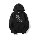 Fashionable Guys Long Sleeve Drawstring Owl Printed Pouch Pocket Relaxed Fit Hoodie