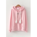 Leisure Ladies Long Sleeve Drawstring Pouch Pocket Rabbit Embroidered Relaxed Fit Ears Hoodie