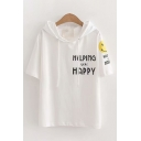 Chic Stylish Womens Short Sleeve Drawstring Letter HELPING HAPPY Smiling Face Graphic Relaxed Fit Hoodie