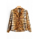 Chic Unique Girls Long Sleeve Notched Collar Tiger Printed Relaxed Shirt in Brown