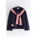 Cute Girls Long Sleeve Crew Neck Japanese Letter Cat Graphic Tied Striped Relaxed Fitted T Shirt